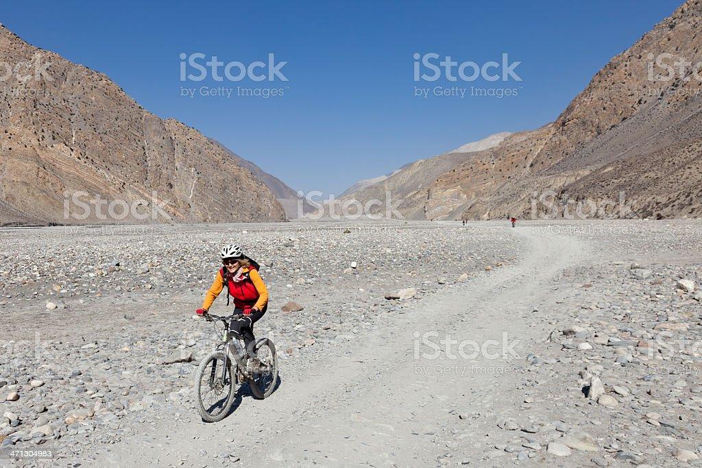 Biking the Kali Gandaki Gorge, Nepal stock photo