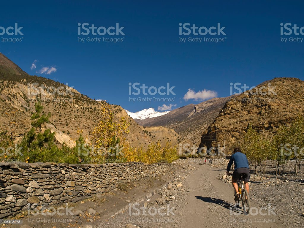 Biking the mountains royalty-free stock photo