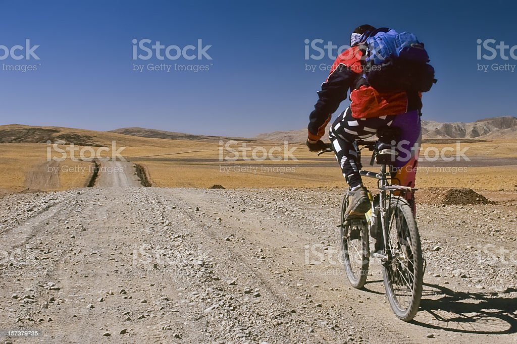 Biking Tibet royalty-free stock photo