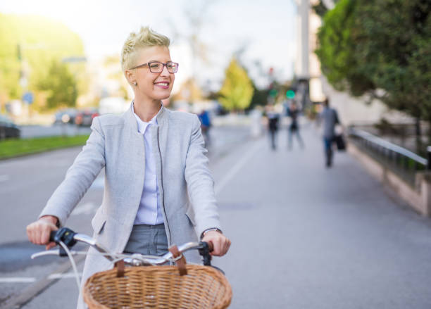 Biking to work is the way to go. stock photo