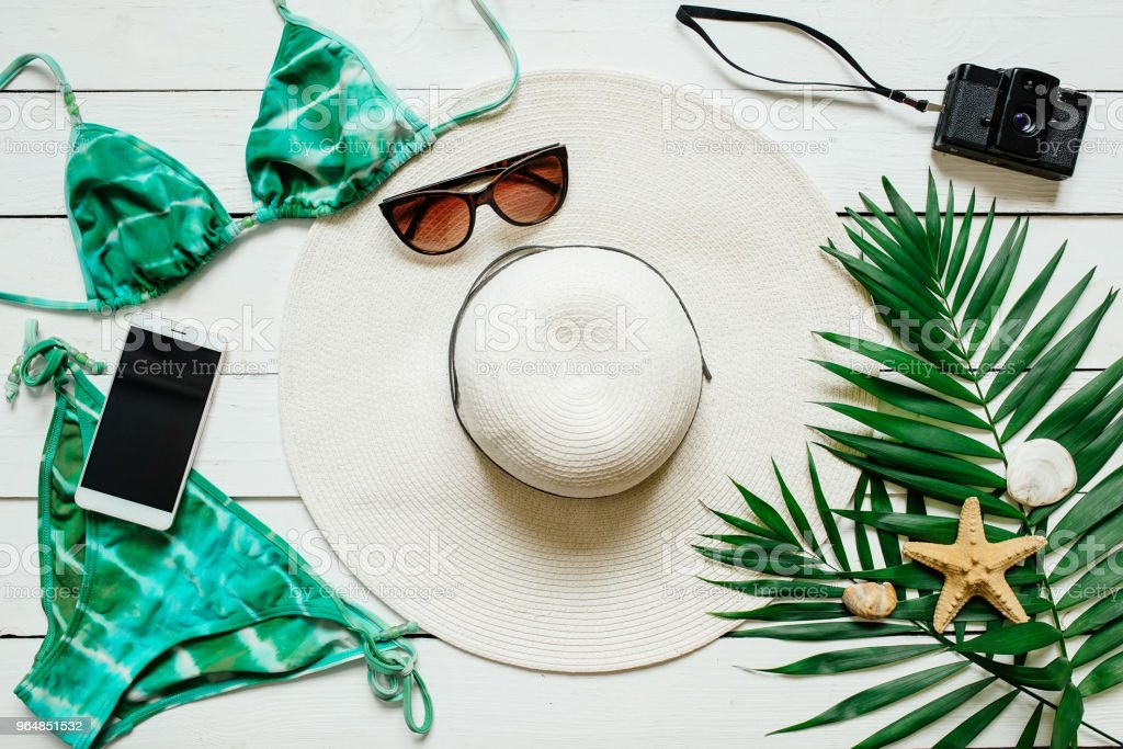 Bikini and accessories summer vacations concept royalty-free stock photo