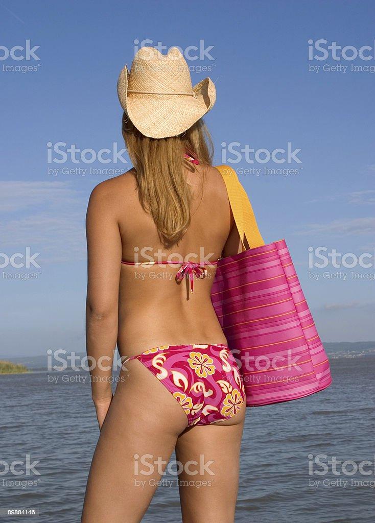 bikini Strand Mädchen Rückansicht Lizenzfreies stock-foto