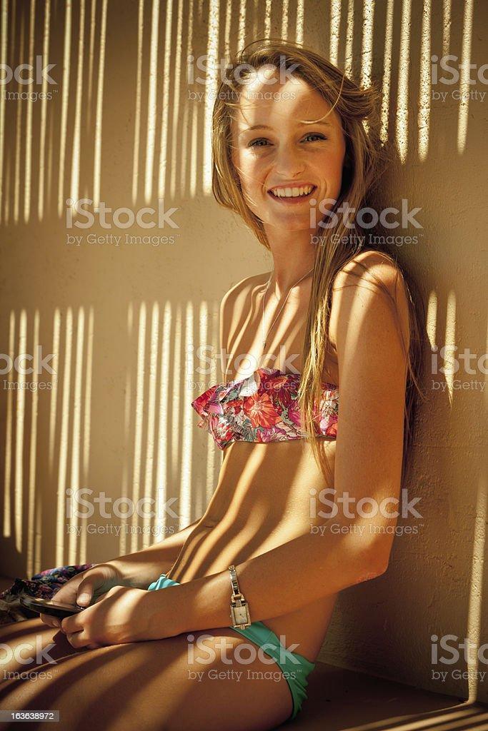 Bikini Girl Smiling Over royalty-free stock photo