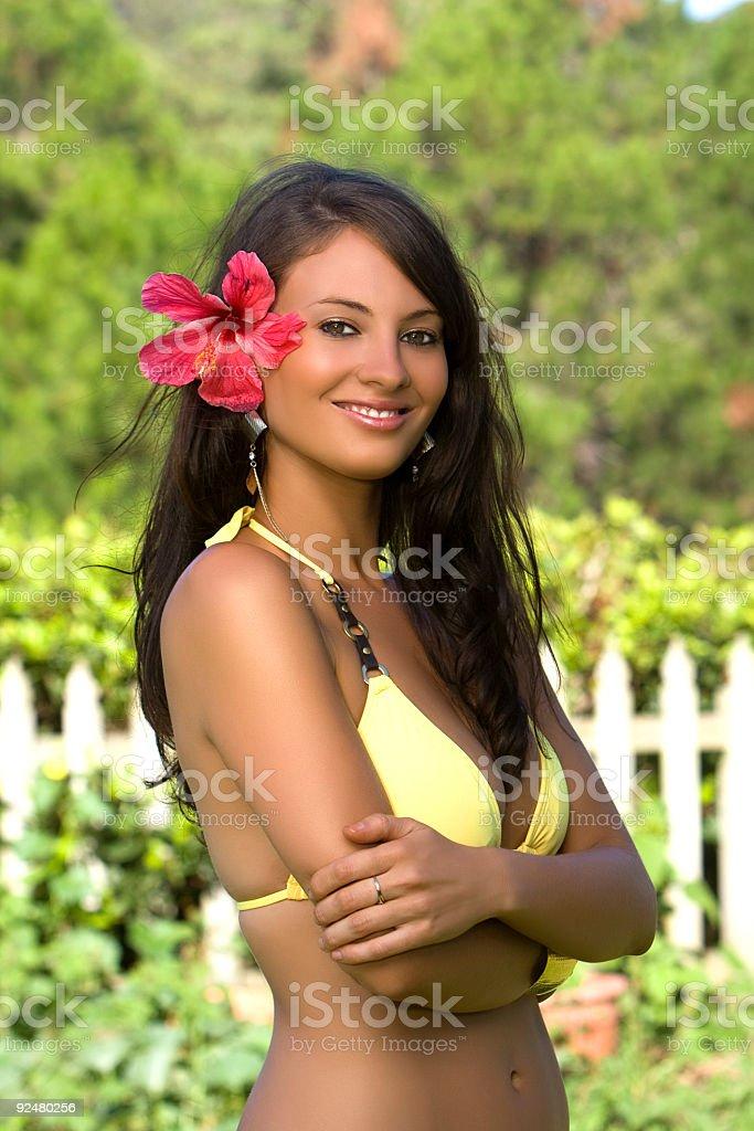 Bikini model smiling royalty-free stock photo