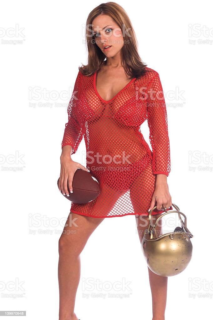 Bikini Quarterback royalty-free stock photo