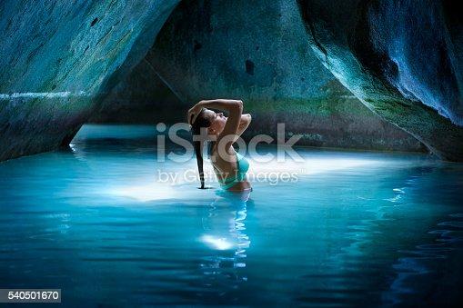 Bikini Woman In The Cave At The Baths Virgin Gorda Stock -7865