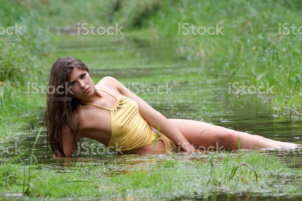 bikini woman in the water royalty-free stock photo