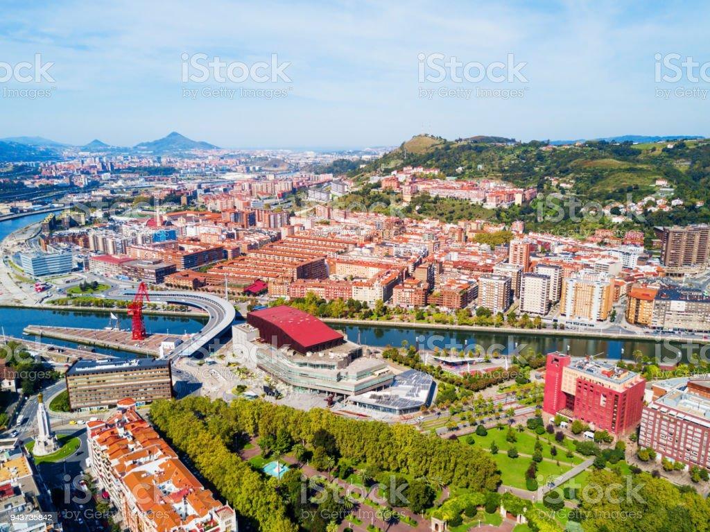 Bilbao aerial panoramic view, Spain stock photo