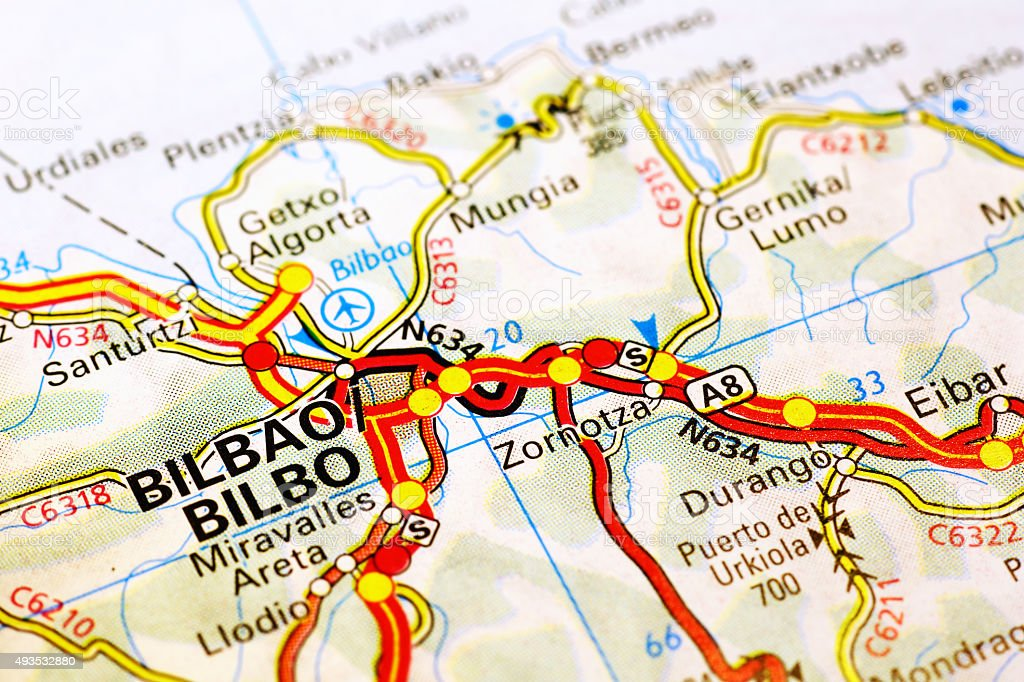 Bilbao On Map Of Spain.Bilbao Area On A Map Stock Photo More Pictures Of 2015 Istock