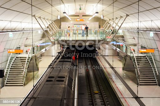 Bilbao, Spain - June 25, 2011: Top view of San Mames subway station (Bilbao Metro). Built from 1988 since today by Norman Foster.