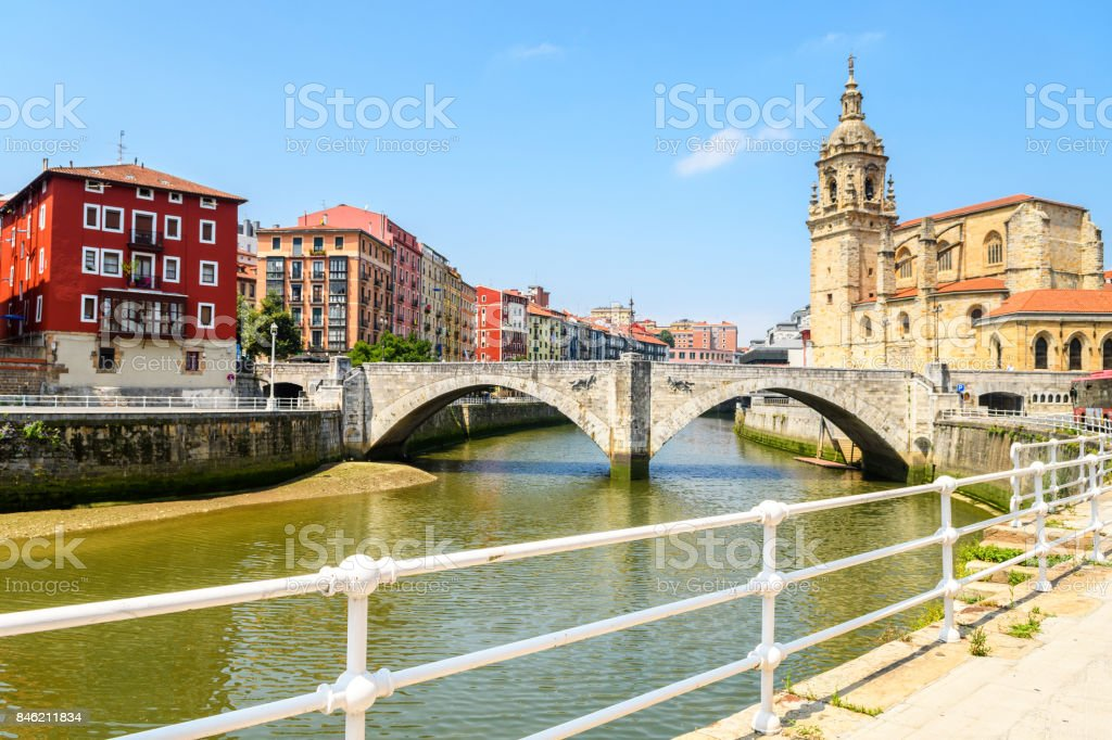 Bilbao old town view on sunny day, Spain stock photo