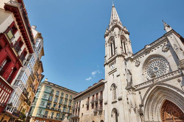 Bilbao Altstadt mit Kathedrale und bunten Gebäuden. Spanien – Foto