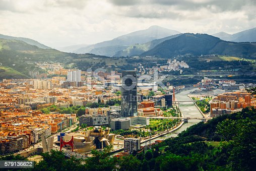 Aerial view of Bilbao, one of the most important cities in northern Spain and the biggest city in the Basque Country.