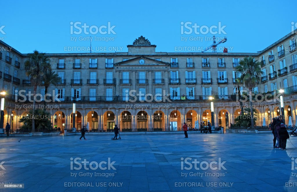 Bilbao: the arches and arcaded buildings of Plaza Nueva, a monumental square of Neoclassical style built in 1821 in the center of the Casco Viejo, the Old Town stock photo