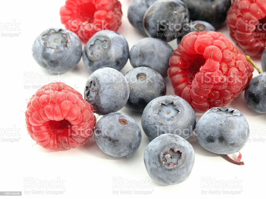 Bilberry and Raspberry royalty-free stock photo