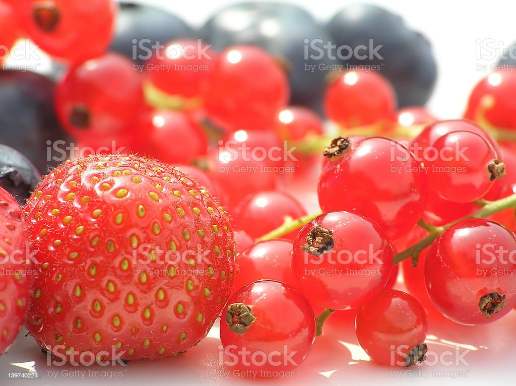 bilberry, strawberry and currants royalty-free stock photo