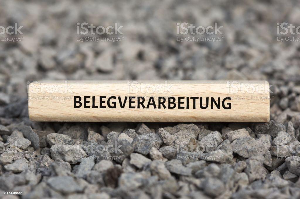 BELEGVERARBEITUNG - Bilder mit Wörtern aus dem Bereich Verfahrensdokumentation, Wort, Bild, Illustration stock photo