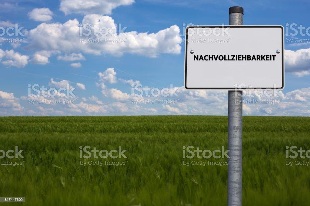 NACHVOLLZIEHBARKEIT - Bilder mit Wörtern aus dem Bereich Verfahrensdokumentation, Wort, Bild, Illustration stock photo