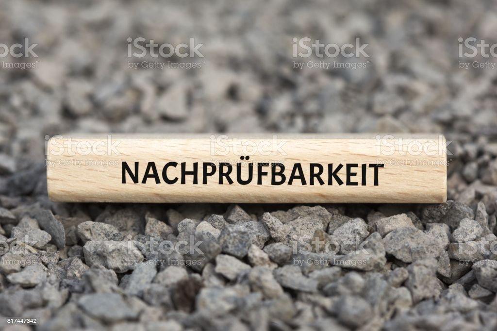 NACHPRÜFBARKEIT - Bilder mit Wörtern aus dem Bereich Verfahrensdokumentation, Wort, Bild, Illustration stock photo