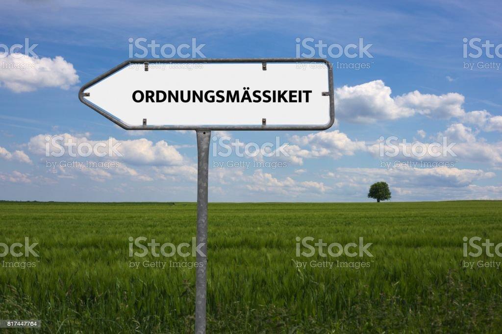 ORDNUNGSMÄSSIKEIT - Bilder mit Wörtern aus dem Bereich Verfahrensdokumentation, Wort, Bild, Illustration stock photo