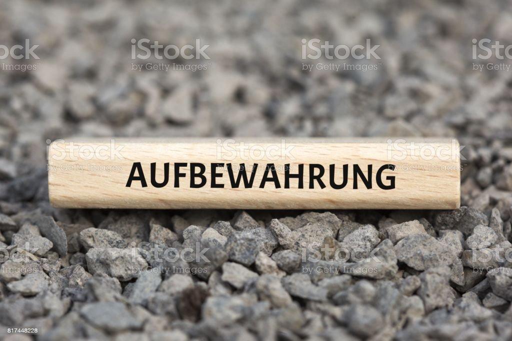 AUFBEWAHRUNG - Bilder mit Wörtern aus dem Bereich Verfahrensdokumentation, Wort, Bild, Illustration stock photo