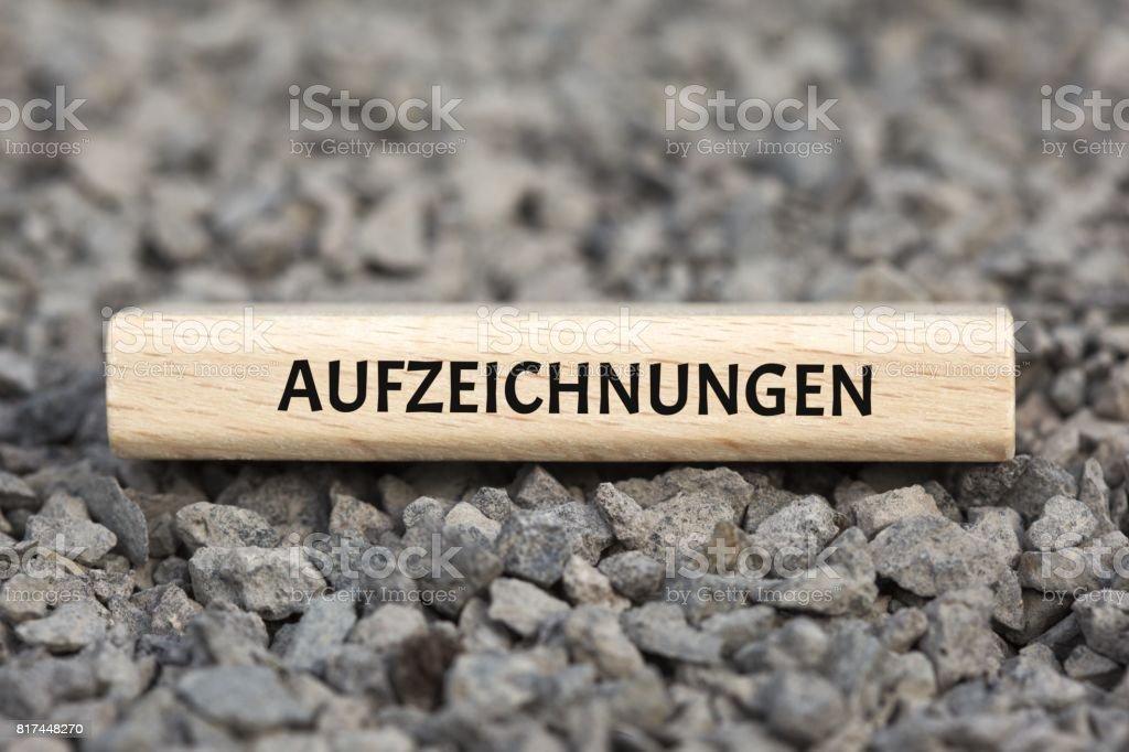 AUFZEICHNUNGEN - Bilder mit Wörtern aus dem Bereich Verfahrensdokumentation, Wort, Bild, Illustration stock photo