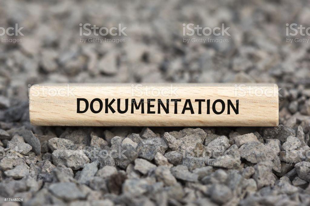 DOKUMENTATION - Bilder mit Wörtern aus dem Bereich Verfahrensdokumentation, Wort, Bild, Illustration stock photo