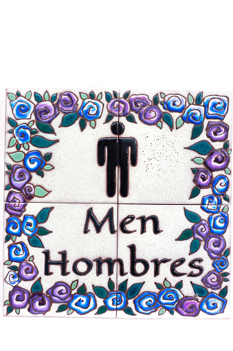 Bilingual English/Spanish Men's Restroom Sign