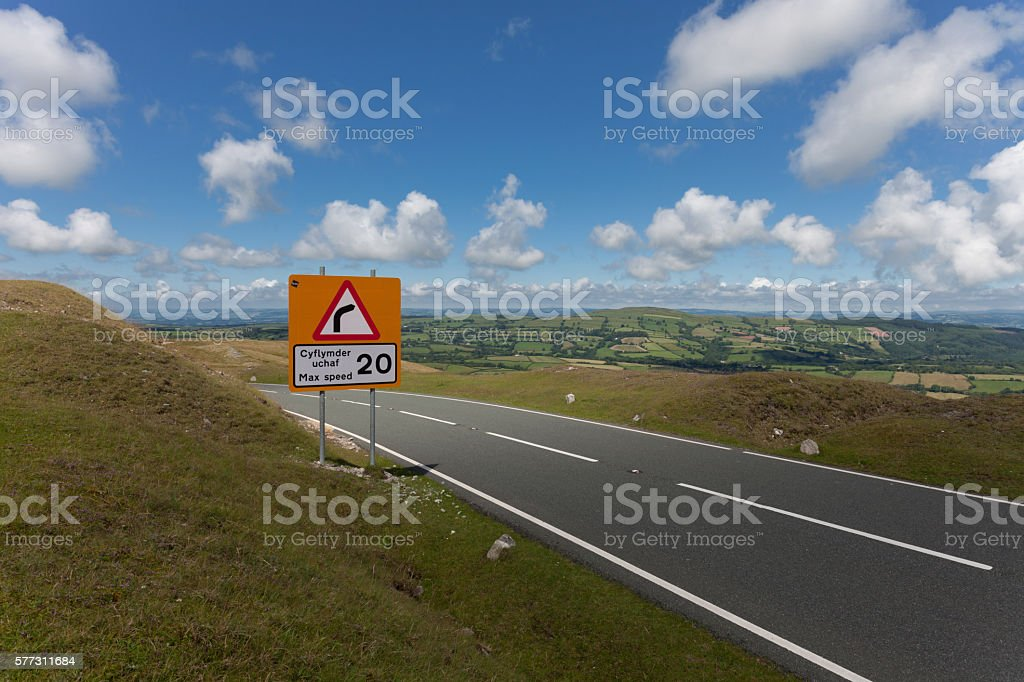 Bilingual speed limit sign stock photo