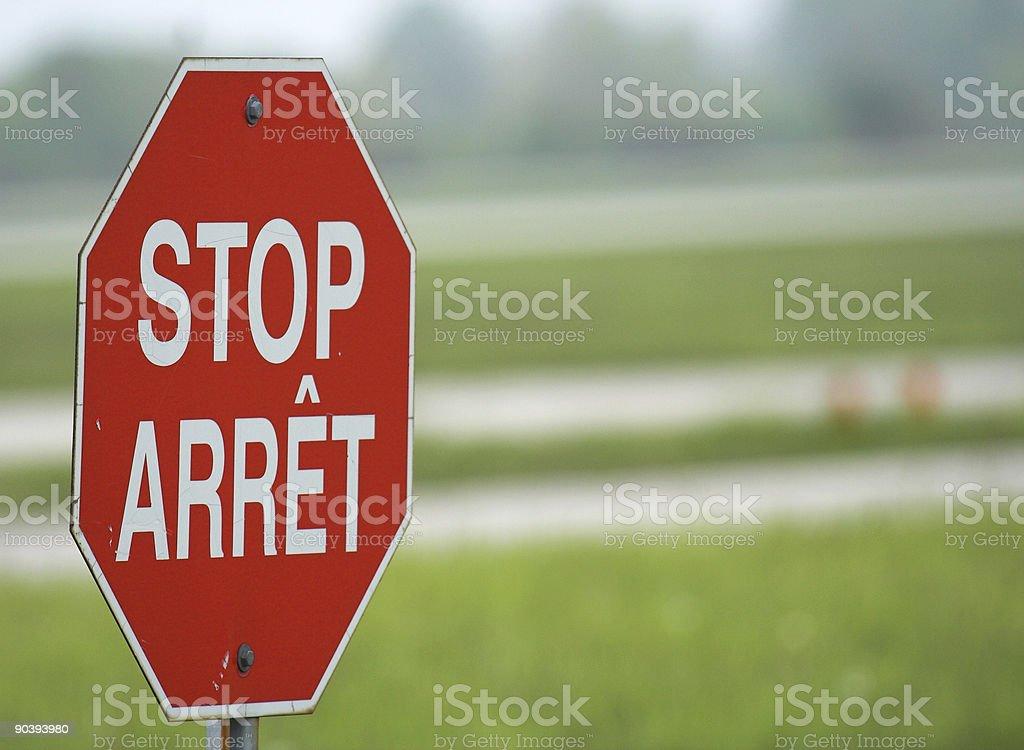 Bilingual Stop, Arret Sign stock photo