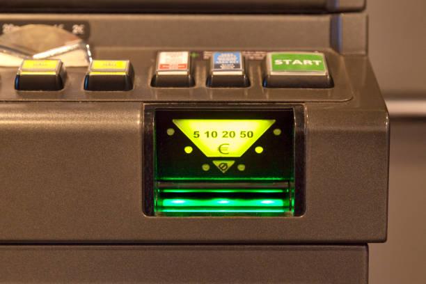 Bill acceptor of a slot machine stock photo