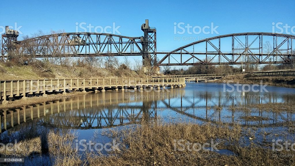 Bill Clinton Presidential Park Bridge, Reflection, Little Rock, Arkansas stock photo