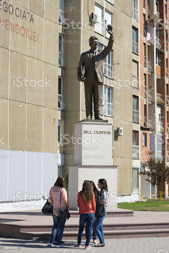 Bill Clinton statue in Pristina, Kosovo stock photo