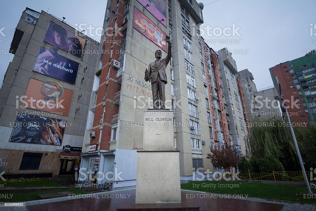 Bill Clinton statue in Pristina stock photo