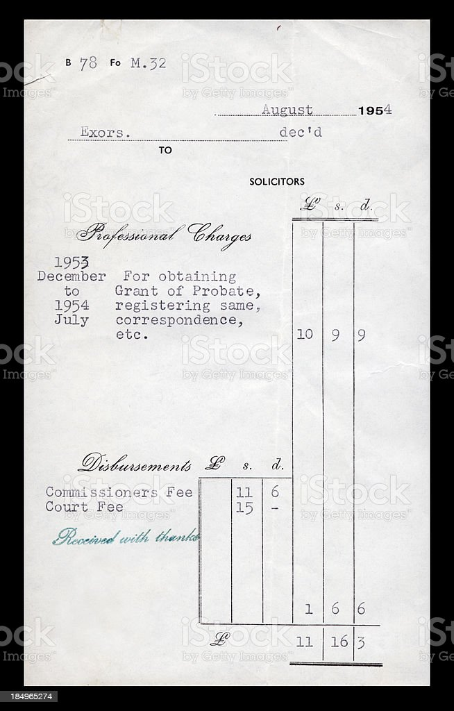British solicitor's bill 1954 royalty-free stock photo