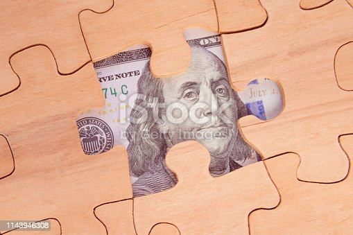 Bill greenback, wooden puzzles. business, Finance, currency funds