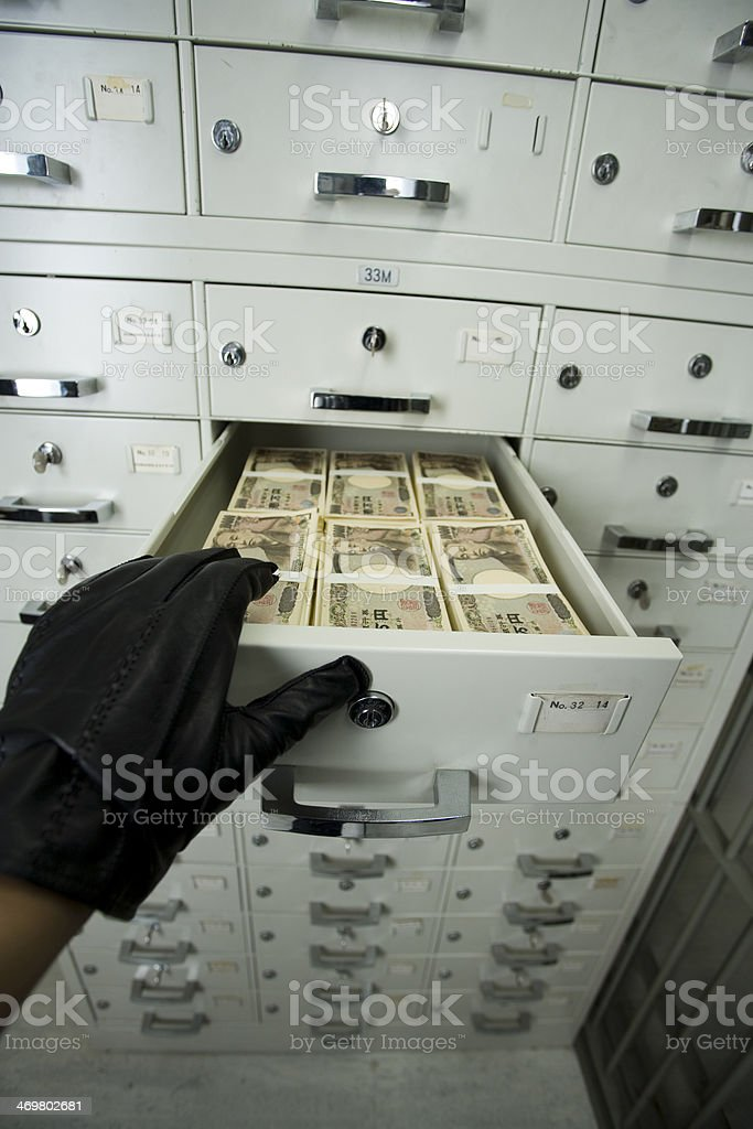 Bill in Cashbox stock photo