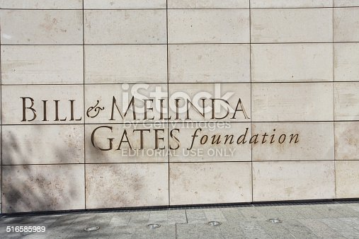 Seattle, Washington, USA - April 25, 2014. This is the headquarters of the Bill & Melinda Gates foundation. This photo was taken outside the main entrance of the building.