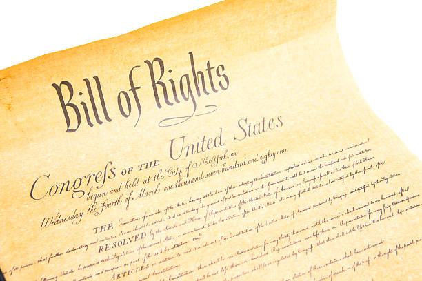 Bill of Rights Congres the Untied States The Bill of Rights document of the Congress of the United States of America printed on vintage paper to look authentic. Isolated on a white background shot in studio. signature collection stock pictures, royalty-free photos & images