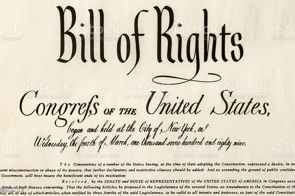Bill of Rights Document Replica - Heading stock photo