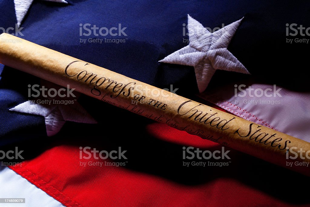 Bill of Rights & USA Flag stock photo
