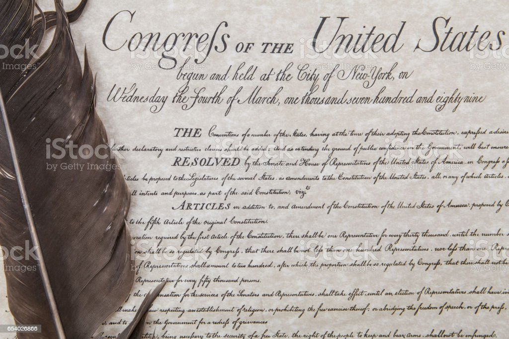Bill of Rights with feather pen stock photo