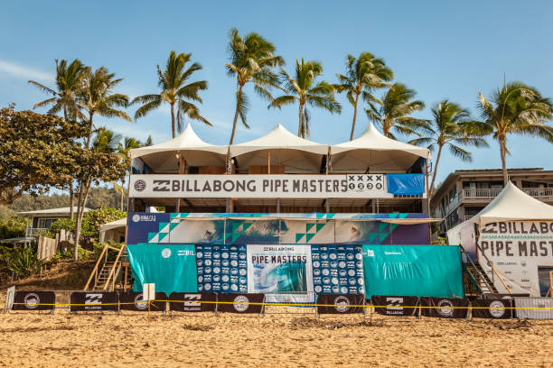 Billabong Pipe Masters Judge Stand stock photo