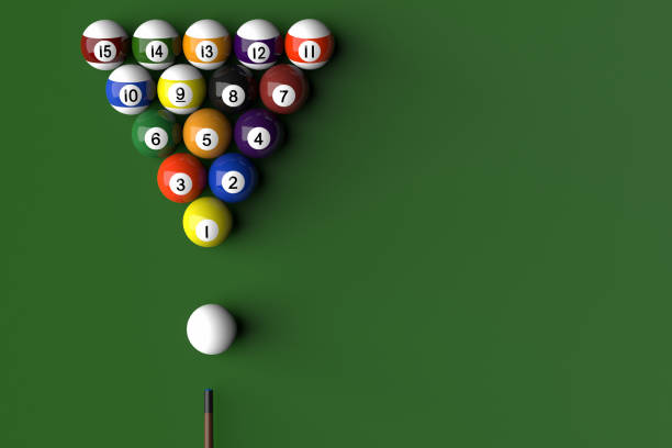 billard balls arranged in a pool table by numeric order - cue ball stock pictures, royalty-free photos & images