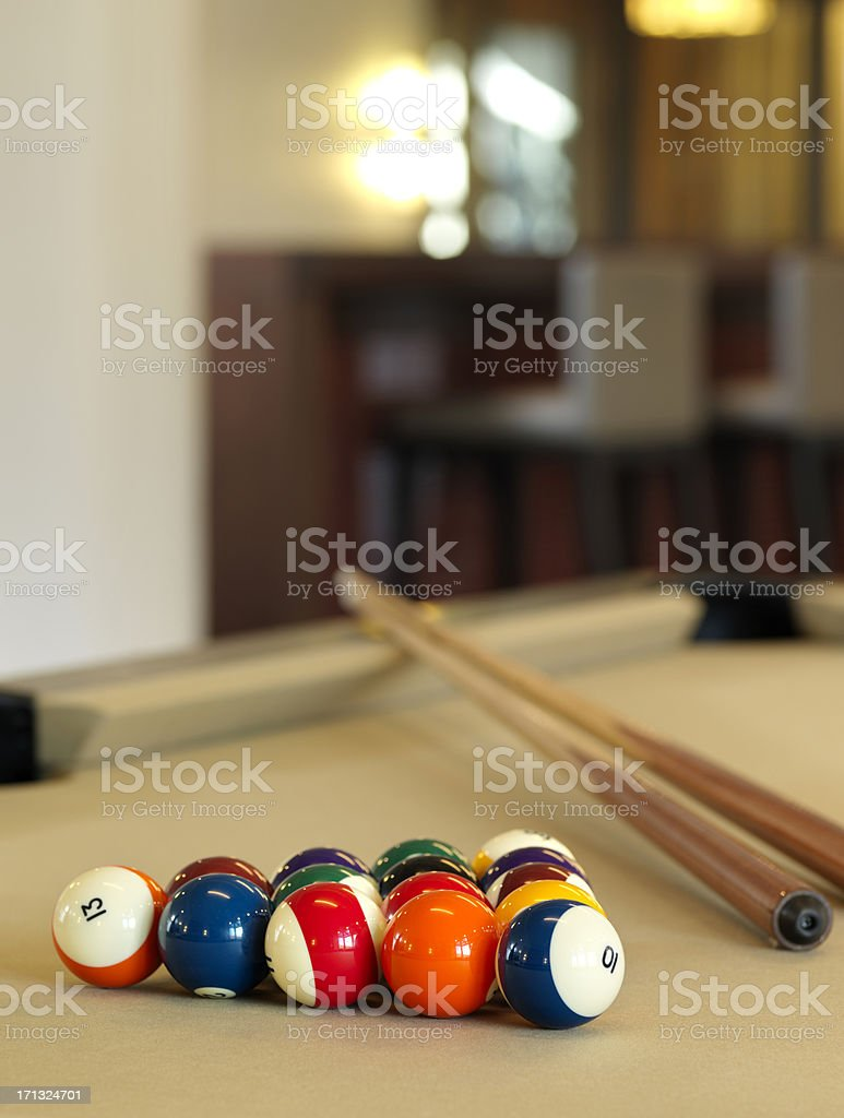 Billard or Pool Table with racked balls stock photo