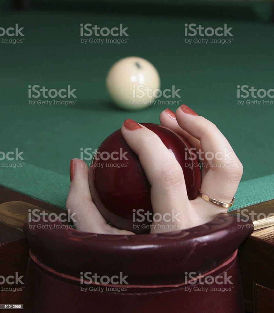 billards ball in the hand stock photo