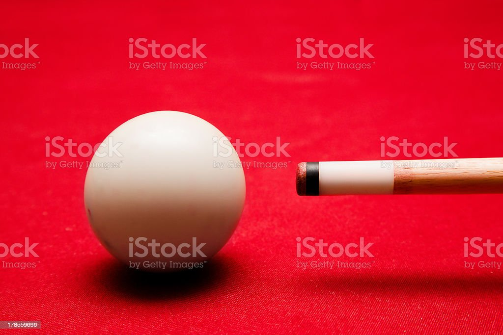 Billards pool game. Aiming at cue ball stock photo