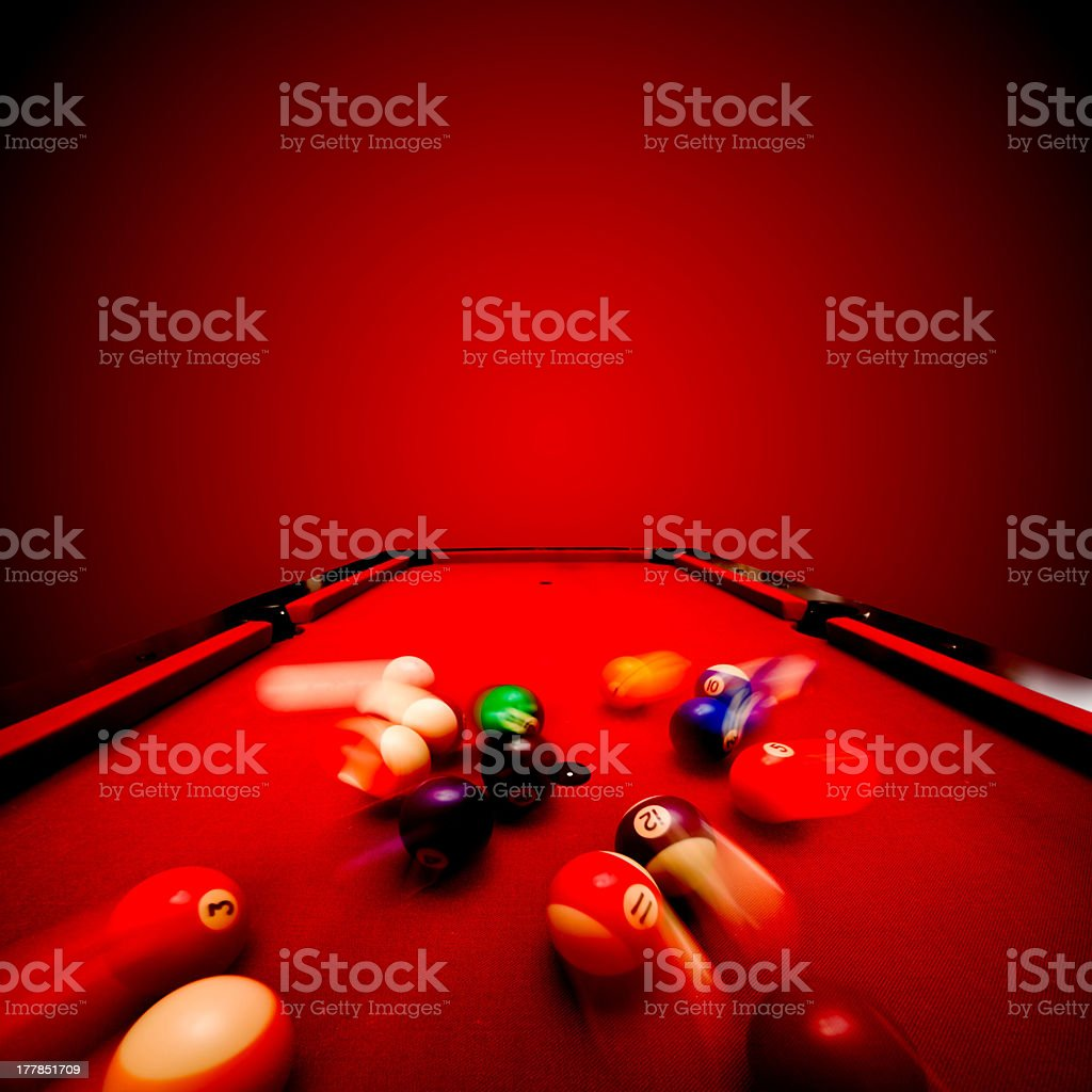 Billards pool game. Breaking the color ball from triangle stock photo