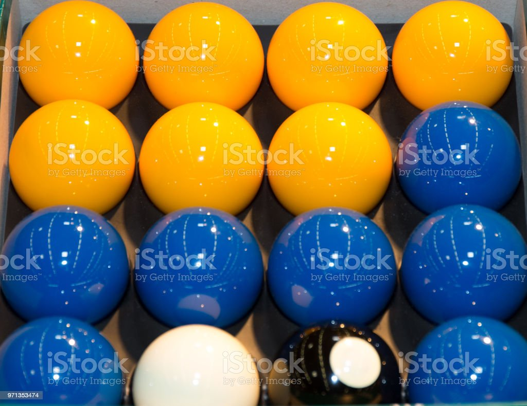 Billards pool game. Color balls in rectangle, aiming at cue ball stock photo