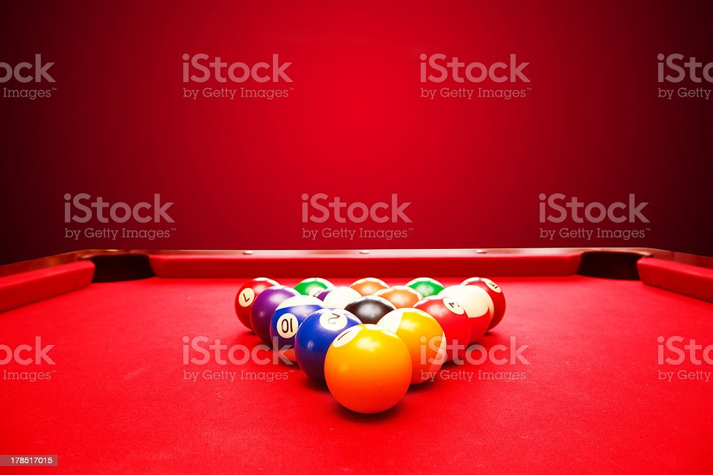 Billards pool game. Color balls in triangle stock photo